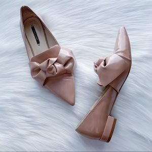 ZARA Patent Bow Loafers Flats Tan Nude 38/7.5